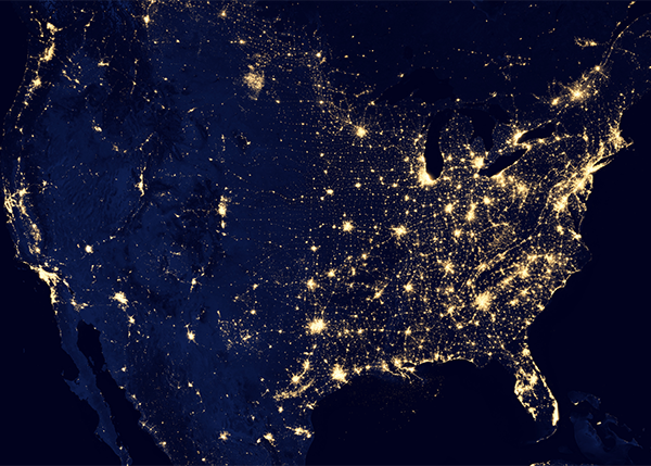U.S. map showing city lights